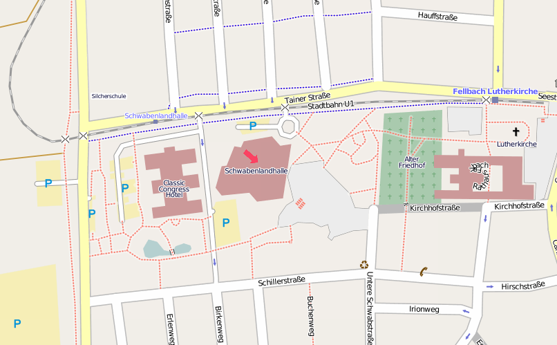 Fellbach Karte (Quelle: http://openstreetmap.org, Attribution-Share Alike 2.0 Generic)